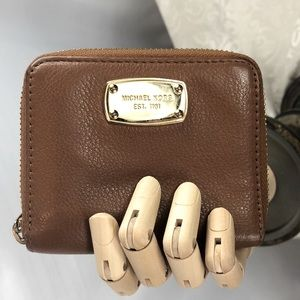 Michael Kors Leather Wallet Tan Gold 4.5x3.5